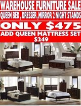 NEW ALL WOOD QUEEN BED SETS in Riverside, California