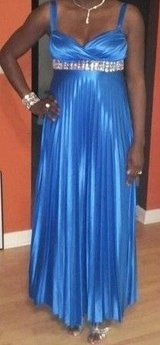 Blue Pleated Formal Gown in Perry, Georgia