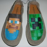 Mens Teen Boys Size 7 Hand-Painted MINECRAFT Shoes NEW in Kingwood, Texas