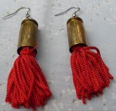 Shell Casing Earrings Brass FUN Red Fringe in Kingwood, Texas