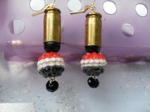 Shell Casing Earrings Red White and Black Accents in Kingwood, Texas