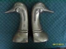 CLEARANCE Vintage Pair Solid Cast Brass Mallard Duck Head Bookends Bird Decor in Sandwich, Illinois